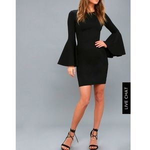 Lulus Black flounce sleeve bodycon dress